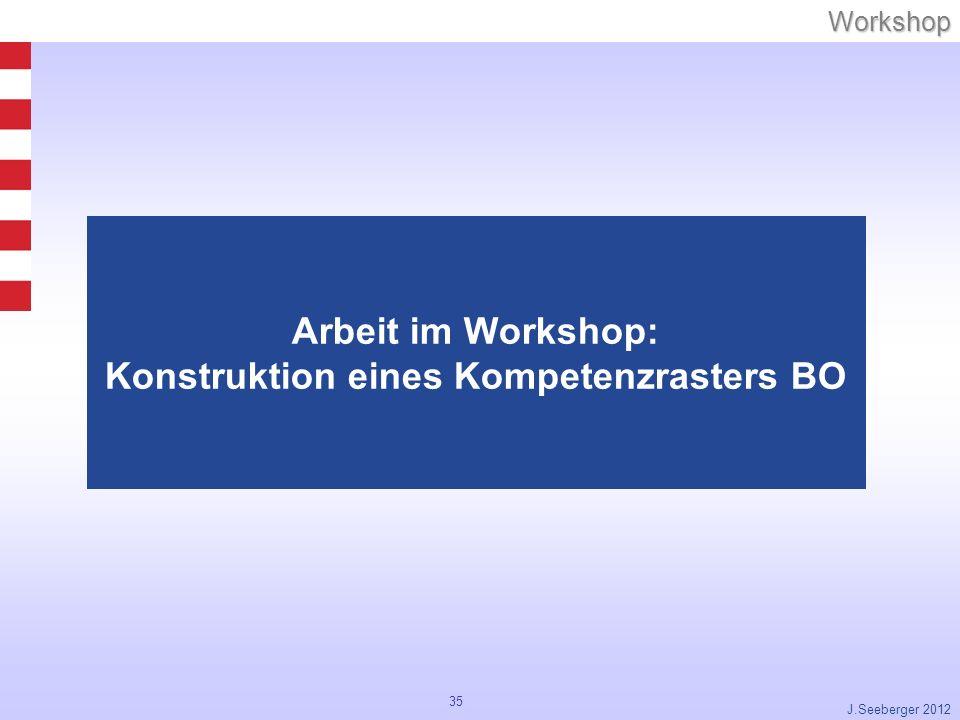 Arbeit im Workshop: Konstruktion eines Kompetenzrasters BO