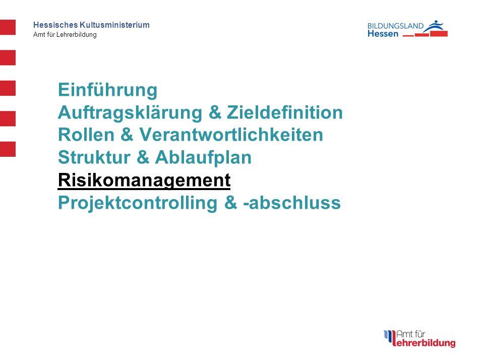 Einführung Auftragsklärung & Zieldefinition Rollen & Verantwortlichkeiten Struktur & Ablaufplan Risikomanagement Projektcontrolling & -abschluss