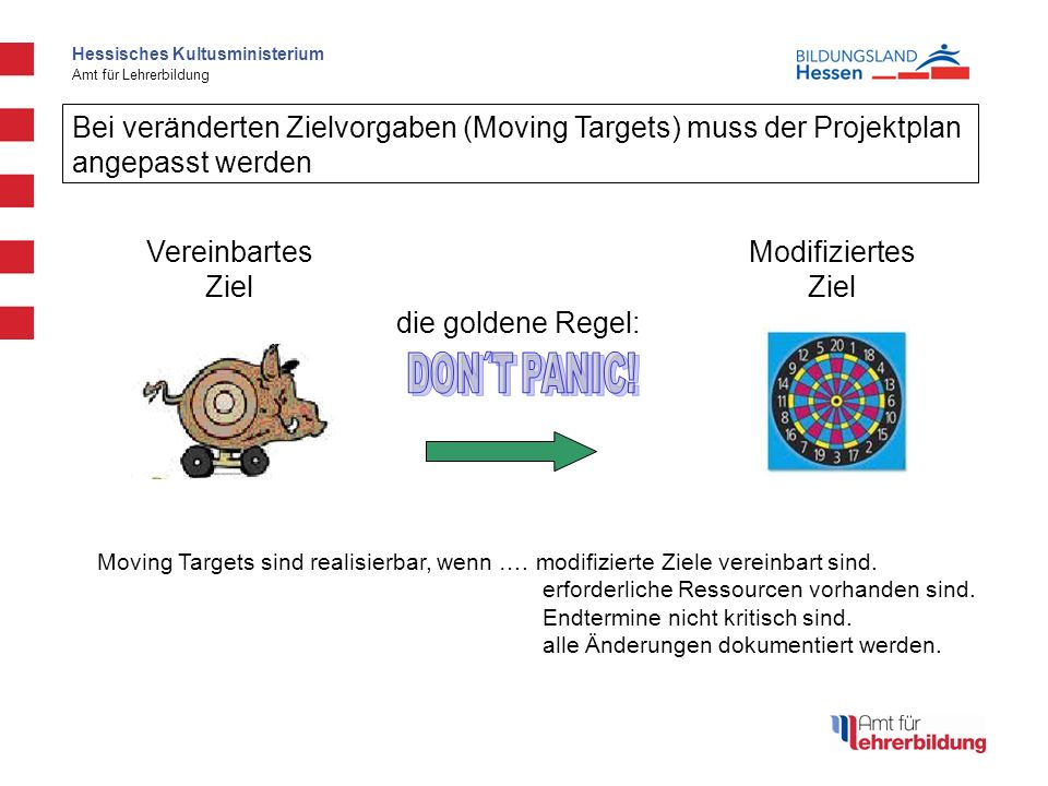 Bei veränderten Zielvorgaben (Moving Targets) muss der Projektplan angepasst werden