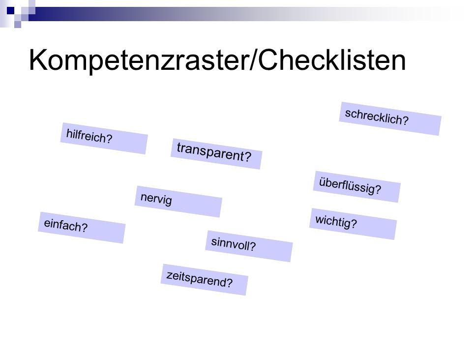 Kompetenzraster/Checklisten