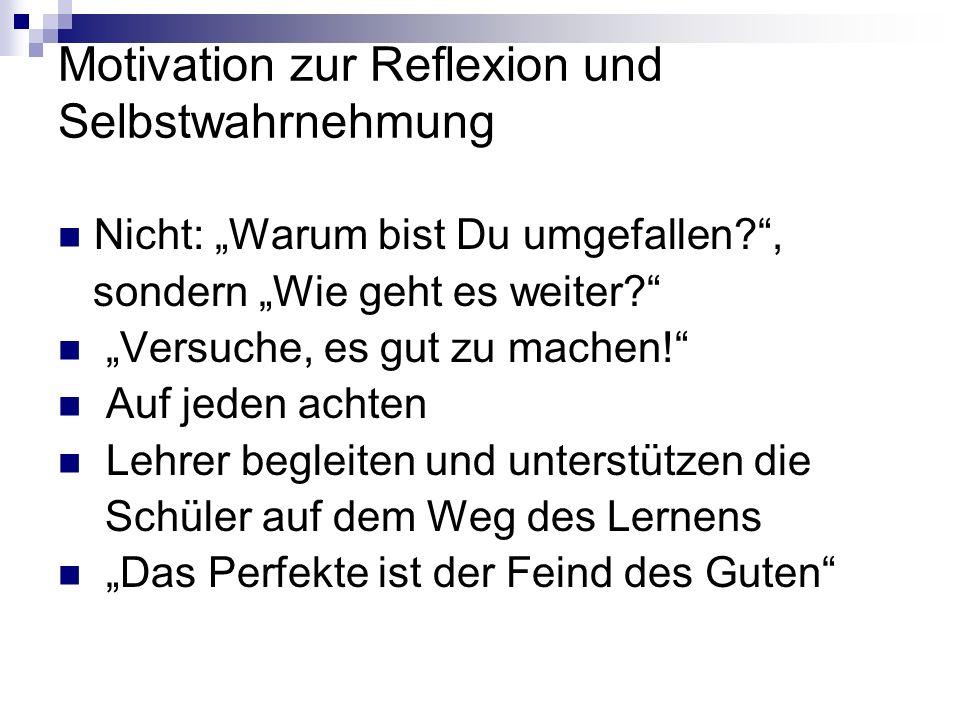 Motivation zur Reflexion und Selbstwahrnehmung