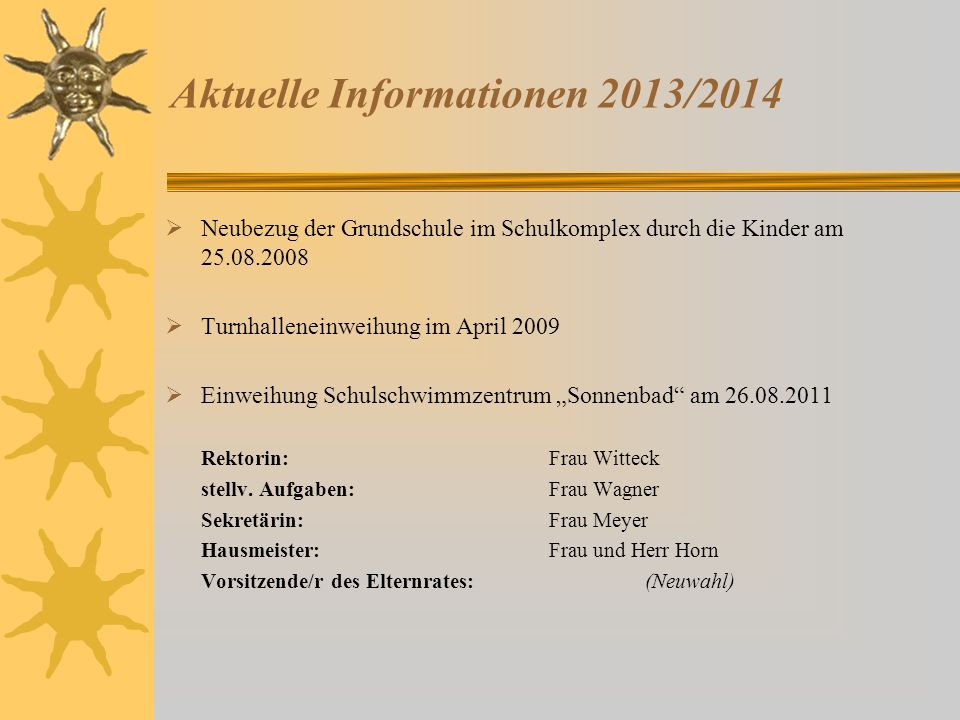 Aktuelle Informationen 2013/2014