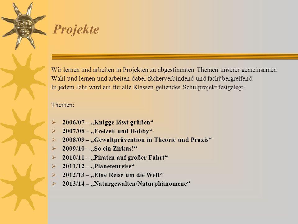Projekte Wir lernen und arbeiten in Projekten zu abgestimmten Themen unserer gemeinsamen.