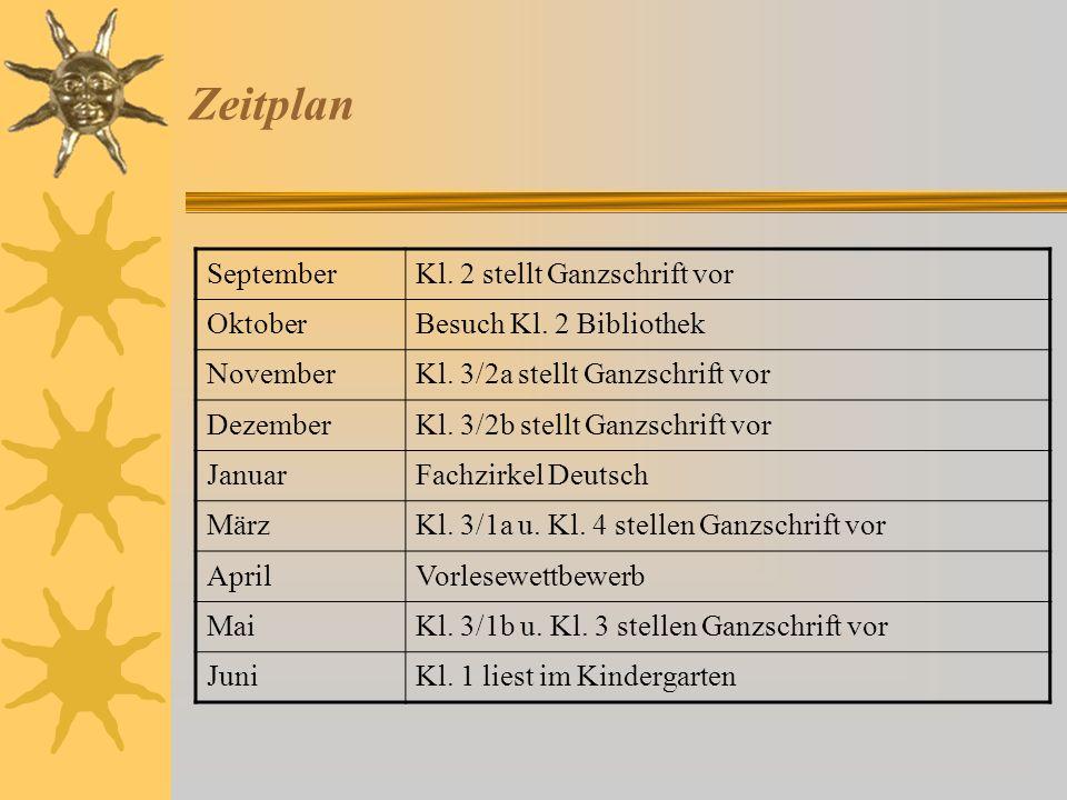 Zeitplan September Kl. 2 stellt Ganzschrift vor Oktober