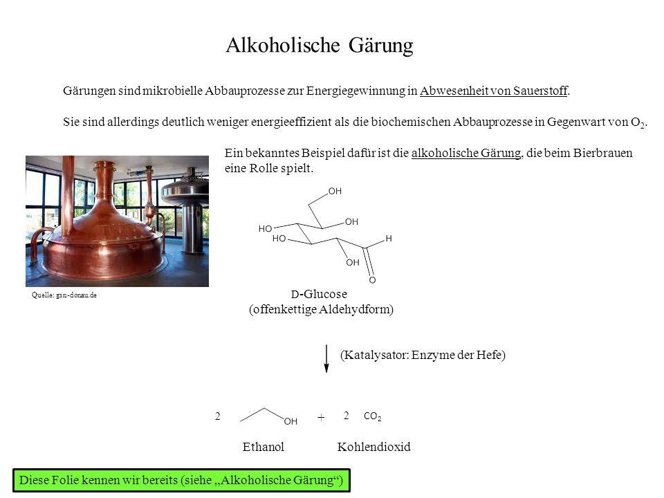 Alkoholische Gärung Gärungen sind mikrobielle Abbauprozesse zur Energiegewinnung in Abwesenheit von Sauerstoff.