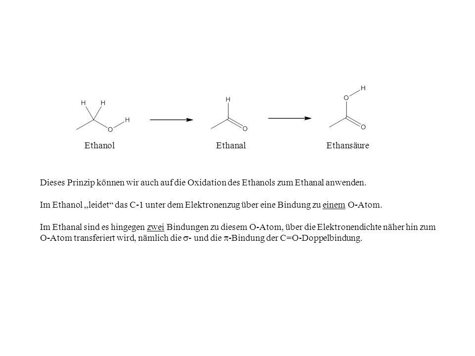 Ethanol Ethanal. Ethansäure. Dieses Prinzip können wir auch auf die Oxidation des Ethanols zum Ethanal anwenden.