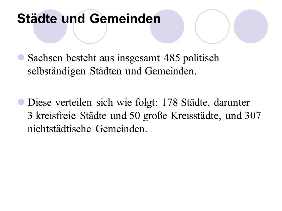 Städte und Gemeinden Sachsen besteht aus insgesamt 485 politisch selbständigen Städten und Gemeinden.