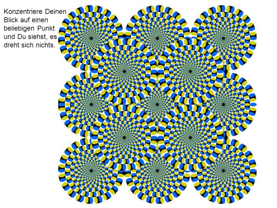Konzentriere Deinen Blick auf einen beliebigen Punkt und Du siehst, es dreht sich nichts.