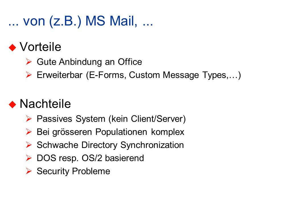 ... von (z.B.) MS Mail, ... Vorteile Nachteile