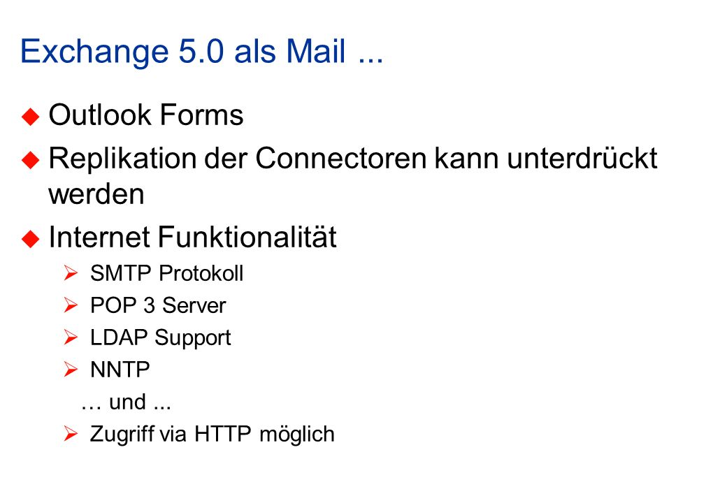 Exchange 5.0 als Mail ... Outlook Forms