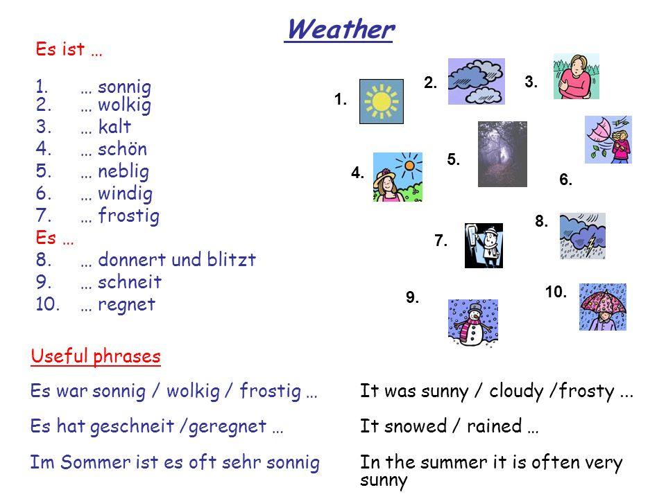 Weather Es ist … 1. … sonnig 2. … wolkig 3. … kalt … schön … neblig