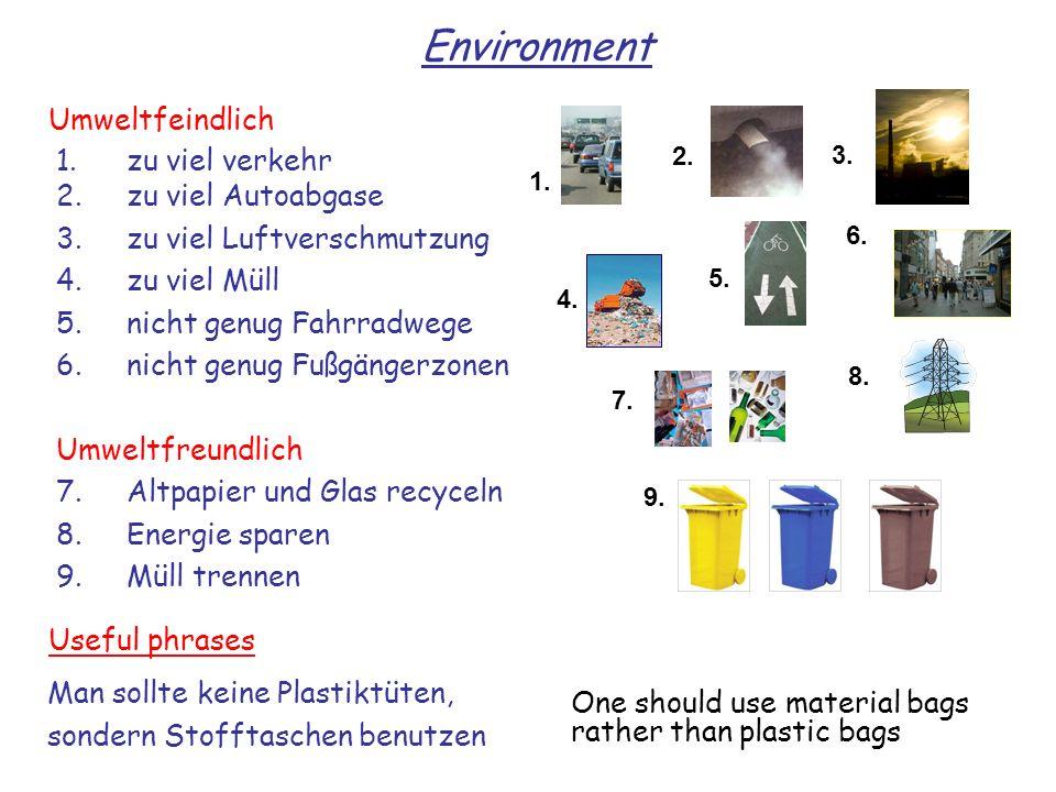 Environment Umweltfeindlich 1. zu viel verkehr 2. zu viel Autoabgase