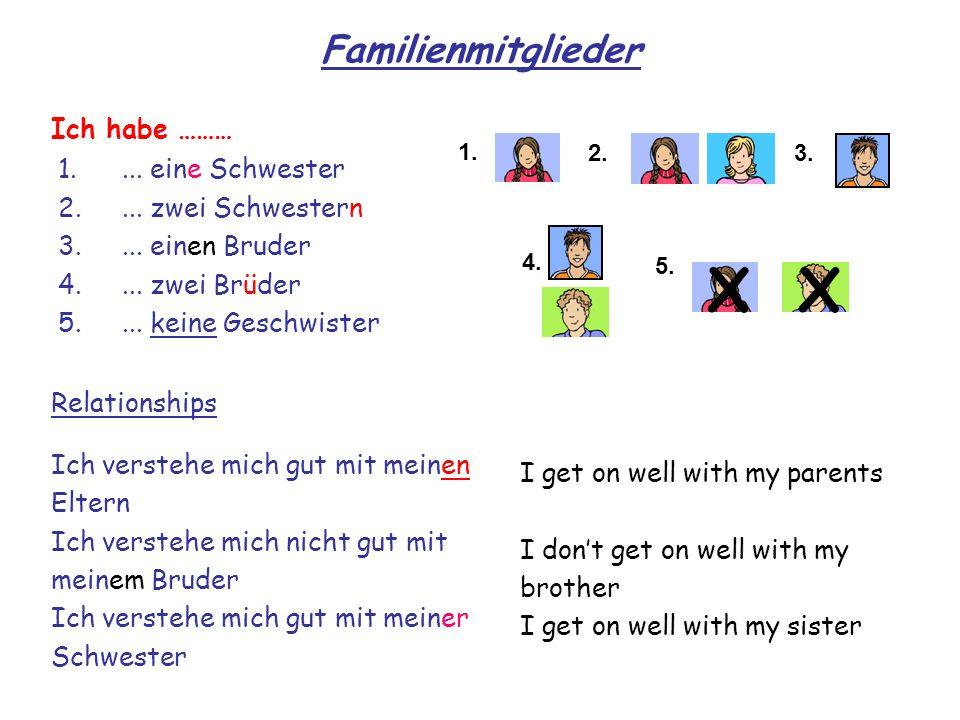 X X Familienmitglieder Ich habe ……… ... eine Schwester