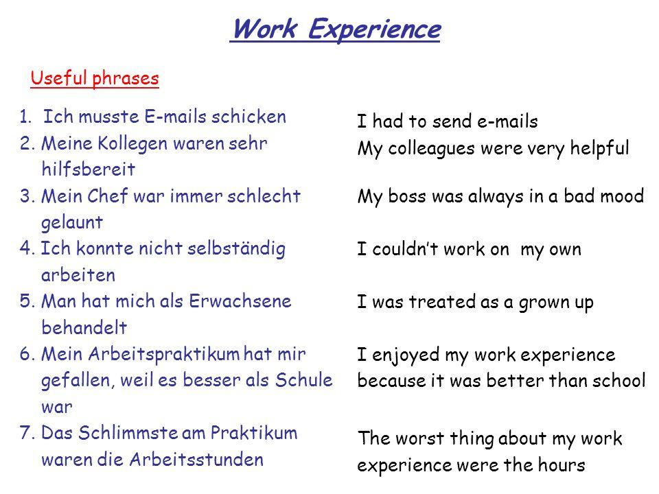 Work Experience Useful phrases 1. Ich musste E-mails schicken