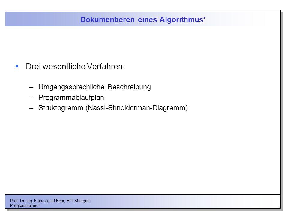 Dokumentieren eines Algorithmus'