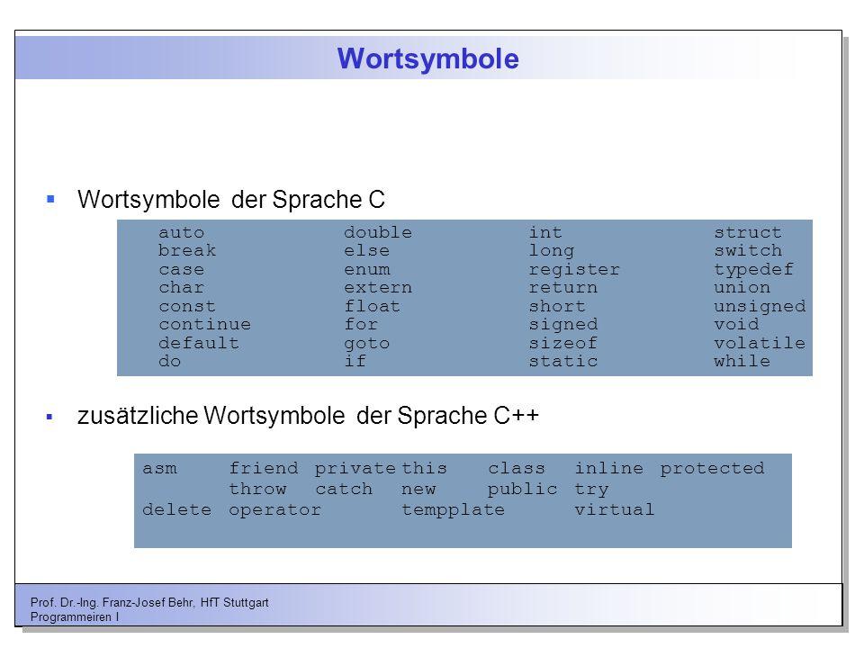 Wortsymbole Wortsymbole der Sprache C
