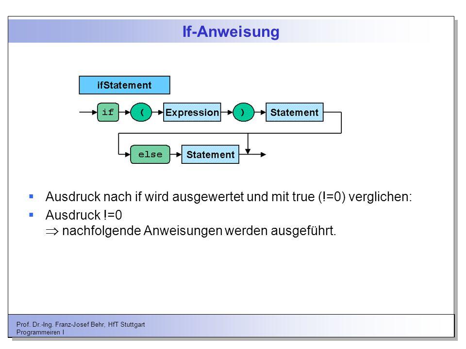 If-Anweisung Ausdruck nach if wird ausgewertet und mit true (!=0) verglichen: Ausdruck !=0  nachfolgende Anweisungen werden ausgeführt.