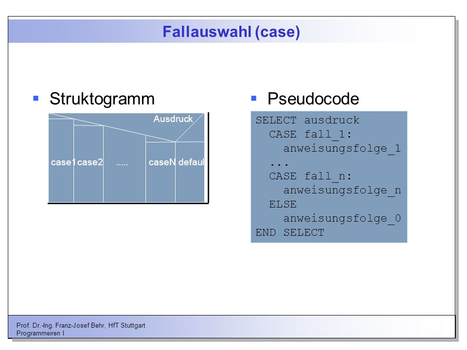 Struktogramm Pseudocode Fallauswahl (case) SELECT ausdruck