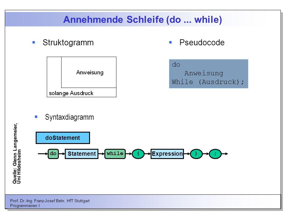 Annehmende Schleife (do ... while)