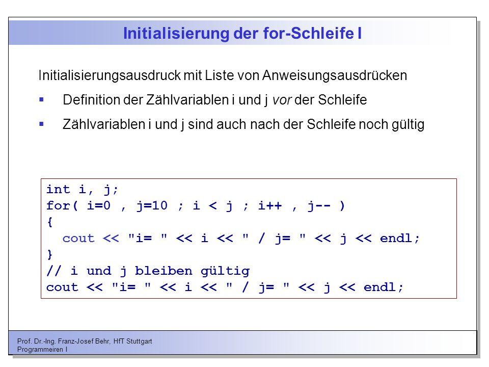 Initialisierung der for-Schleife I