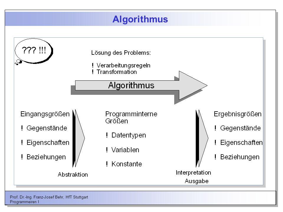 Algorithmus Prof. Dr.-Ing. Franz-Josef Behr, HfT Stuttgart Programmeiren I