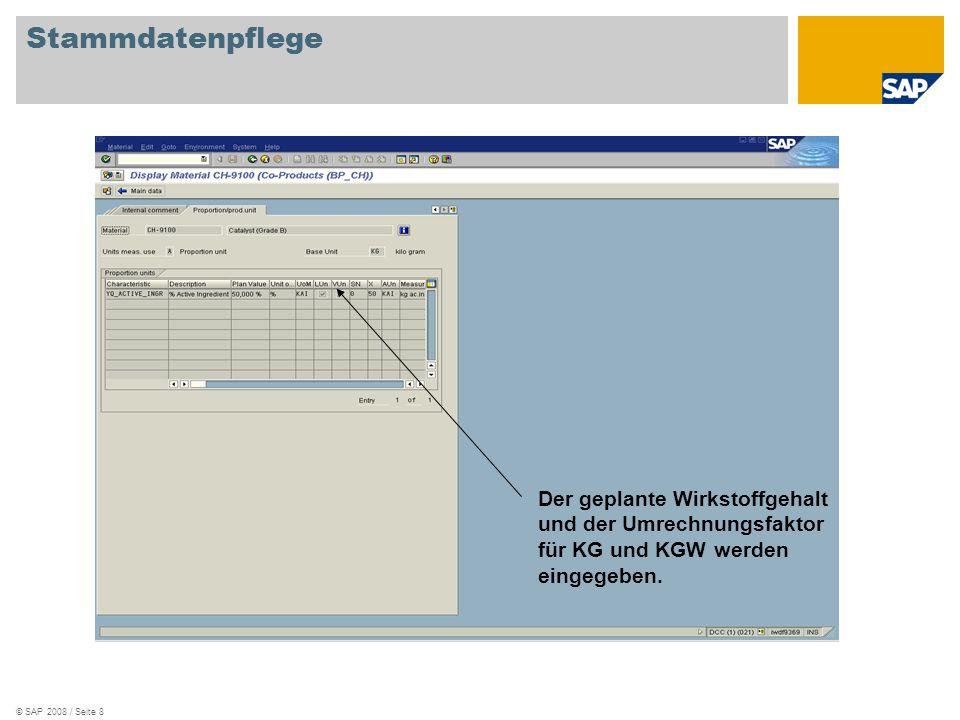 Stammdatenpflege Der geplante Wirkstoffgehalt und der Umrechnungsfaktor für KG und KGW werden eingegeben.