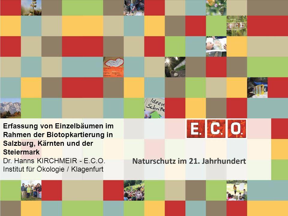 Erfassung von Einzelbäumen im Rahmen der Biotopkartierung in Salzburg, Kärnten und der Steiermark Dr. Hanns KIRCHMEIR - E.C.O. Institut für Ökologie / Klagenfurt