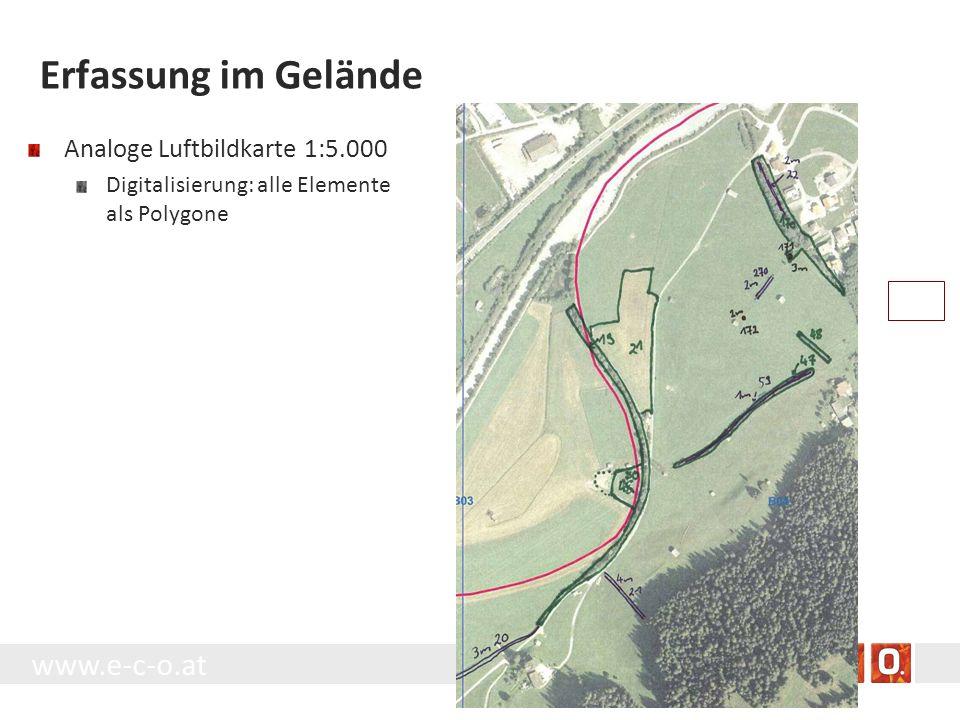 Erfassung im Gelände Analoge Luftbildkarte 1:5.000