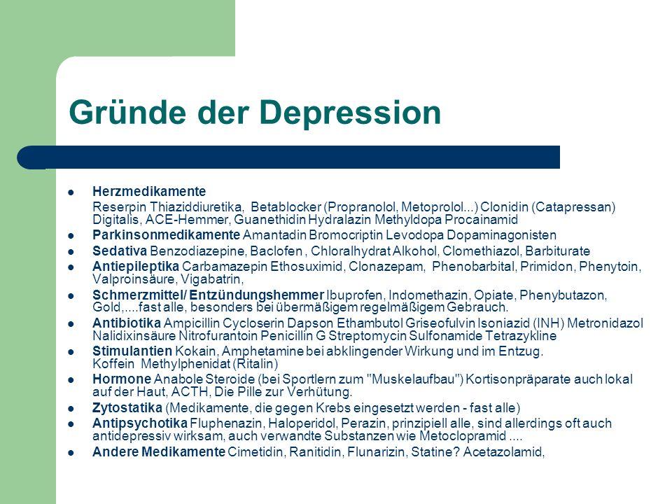 Gründe der Depression Herzmedikamente