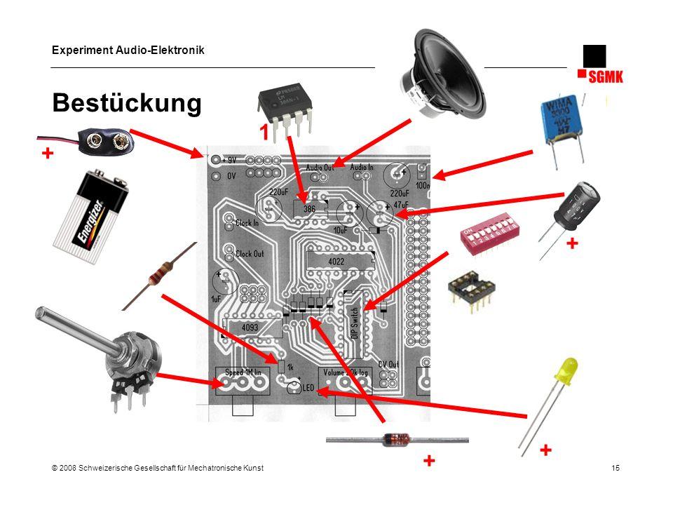 Bestückung 1 + + + + © 2008 Schweizerische Gesellschaft für Mechatronische Kunst 15
