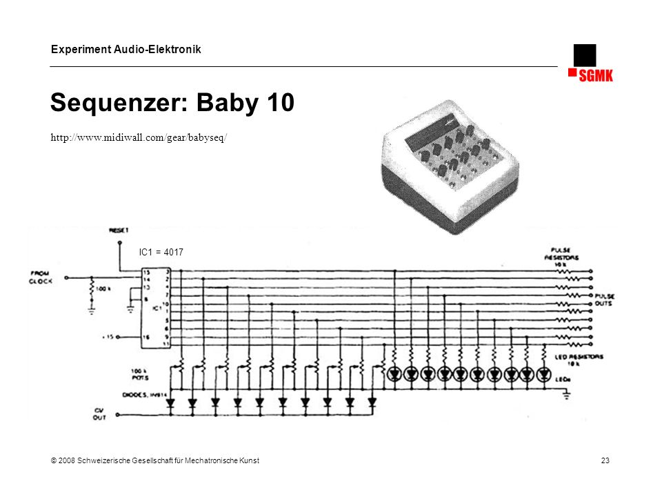 Sequenzer: Baby 10 http://www.midiwall.com/gear/babyseq/ IC1 = 4017