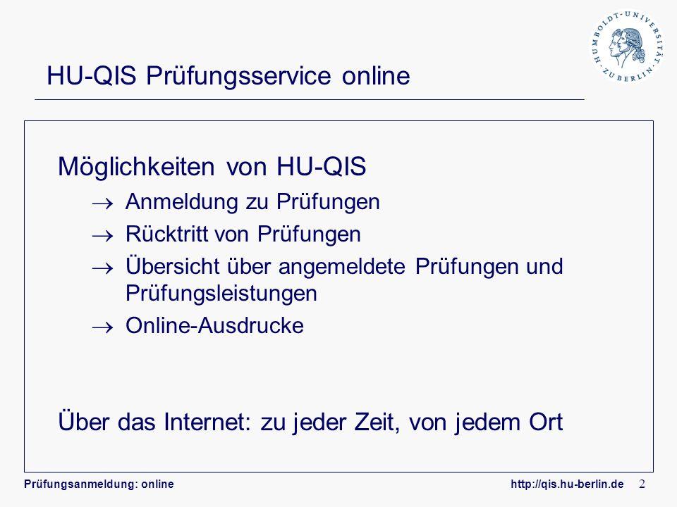 HU-QIS Prüfungsservice online