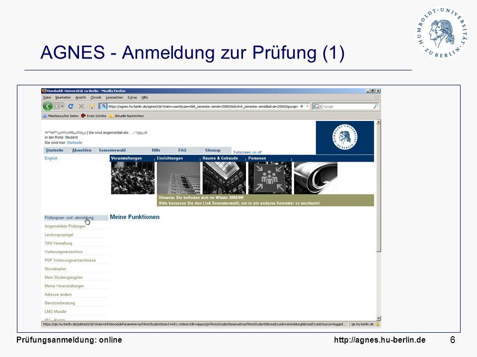 AGNES - Anmeldung zur Prüfung (1)