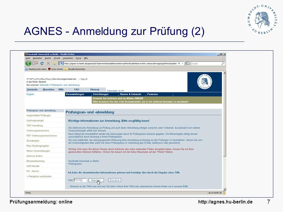 AGNES - Anmeldung zur Prüfung (2)