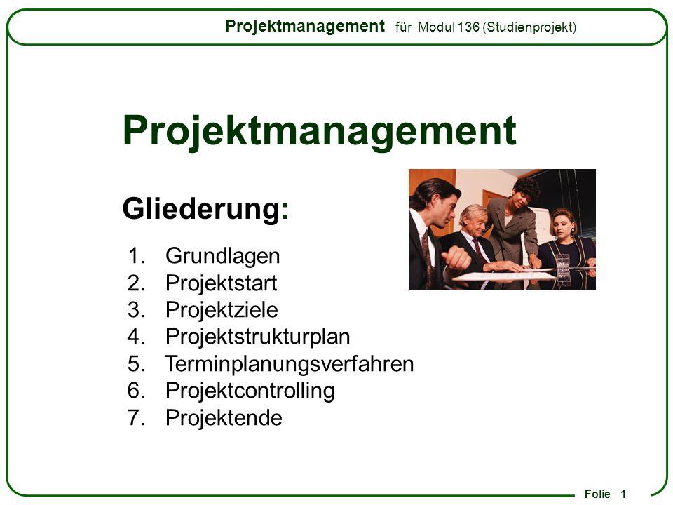 Projektmanagement Gliederung: Grundlagen Projektstart Projektziele