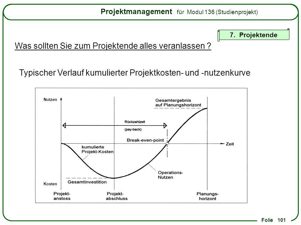 Typischer Verlauf kumulierter Projektkosten- und -nutzenkurve