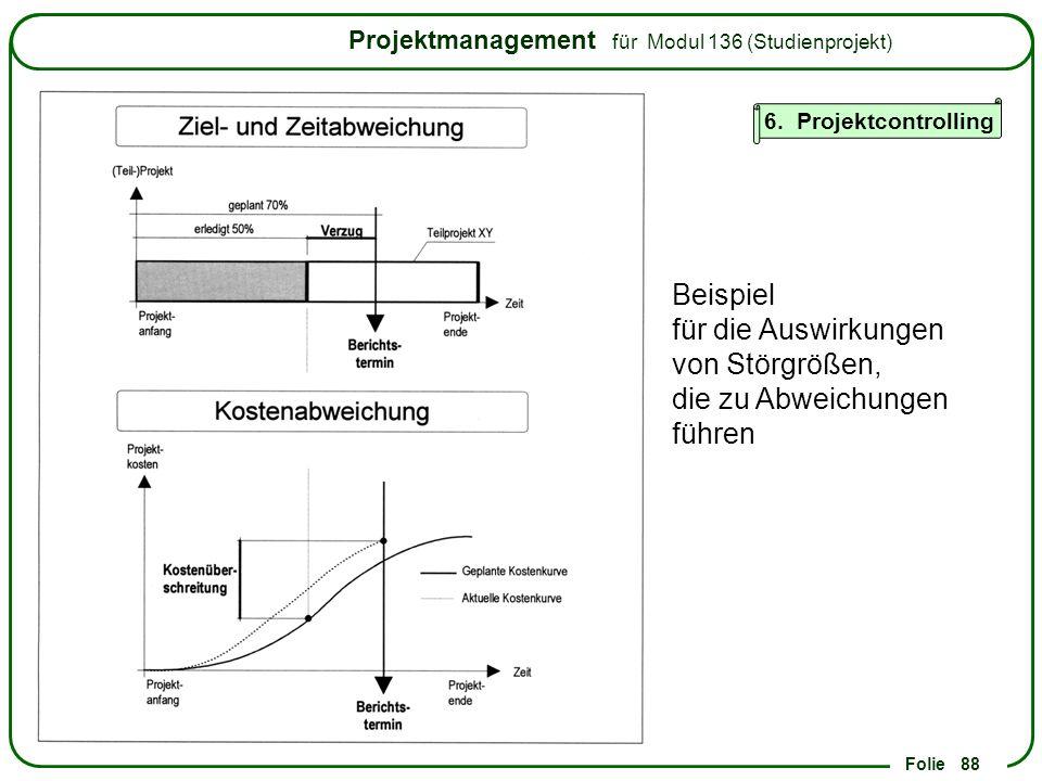 6. Projektcontrolling Beispiel für die Auswirkungen von Störgrößen, die zu Abweichungen führen