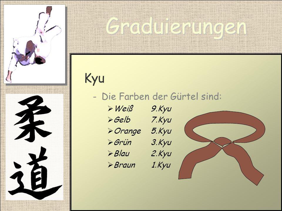 Graduierungen Kyu Die Farben der Gürtel sind: Weiß 9.Kyu Gelb 7.Kyu