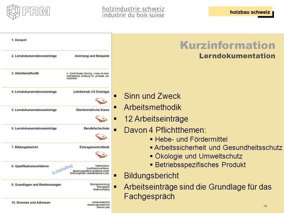 Kurzinformation Sinn und Zweck Arbeitsmethodik 12 Arbeitseinträge