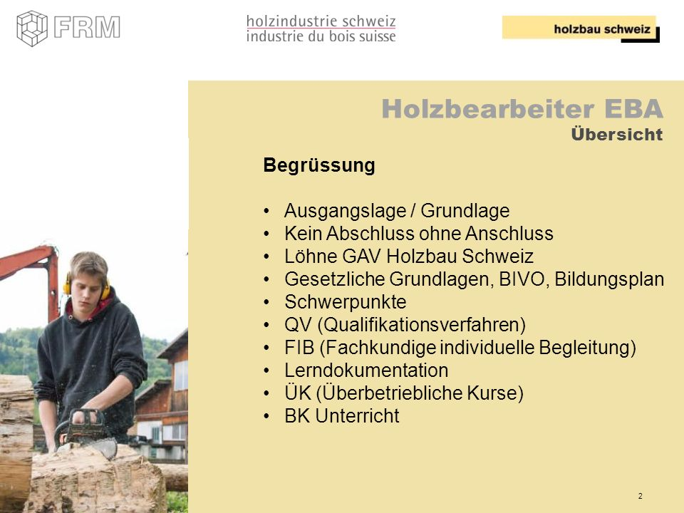 Holzbearbeiter EBA Übersicht
