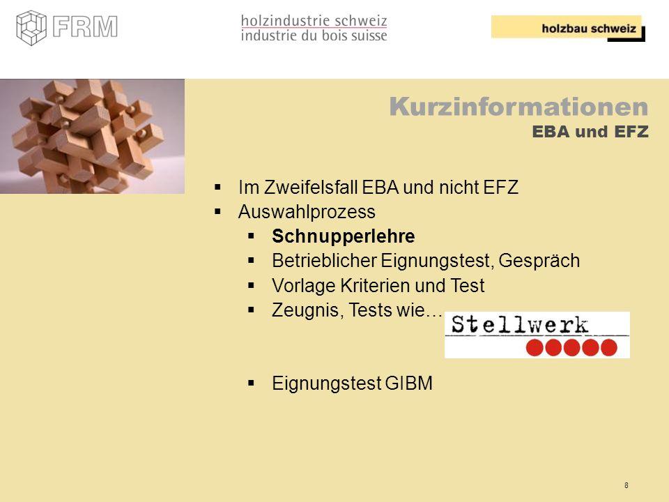 Kurzinformationen EBA und EFZ