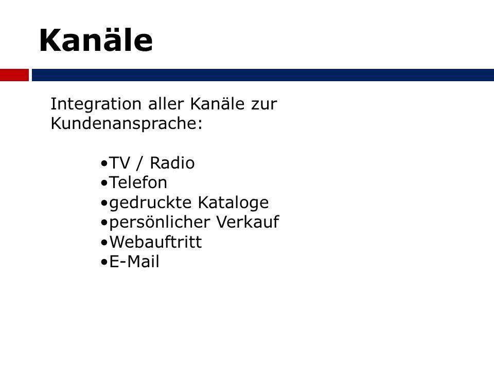 Kanäle Integration aller Kanäle zur Kundenansprache: TV / Radio