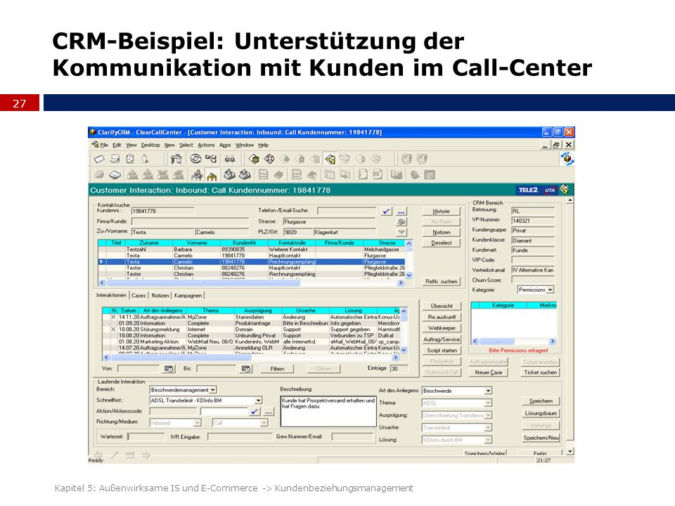 CRM-Beispiel: Unterstützung der Kommunikation mit Kunden im Call-Center