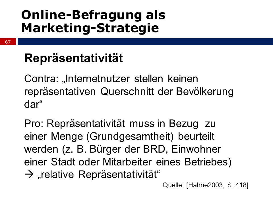 Online-Befragung als Marketing-Strategie Repräsentativität