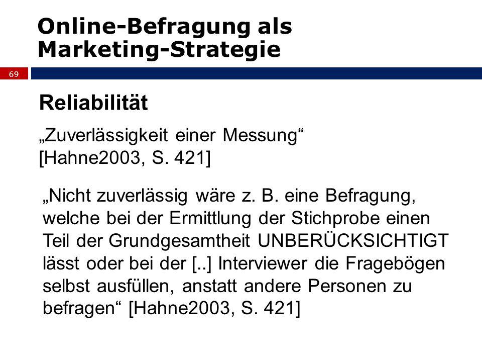 Online-Befragung als Marketing-Strategie Reliabilität