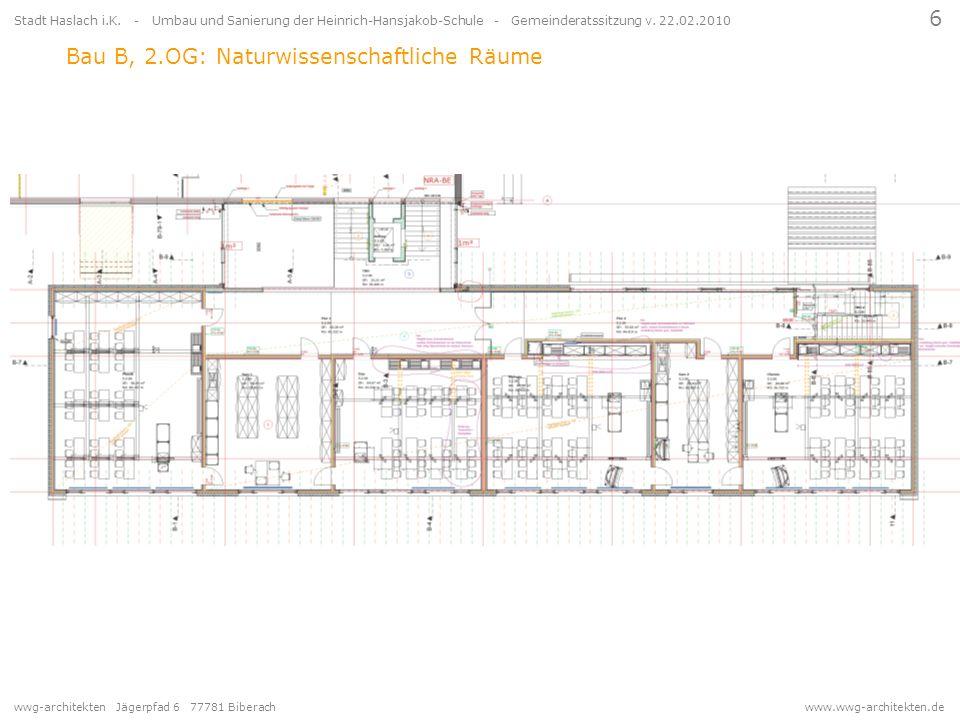 Bau B, 2.OG: Naturwissenschaftliche Räume