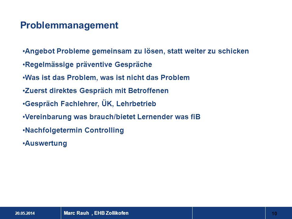 Problemmanagement Angebot Probleme gemeinsam zu lösen, statt weiter zu schicken. Regelmässige präventive Gespräche.