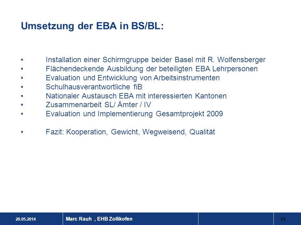 Umsetzung der EBA in BS/BL: