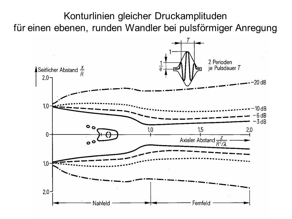 Konturlinien gleicher Druckamplituden für einen ebenen, runden Wandler bei pulsförmiger Anregung