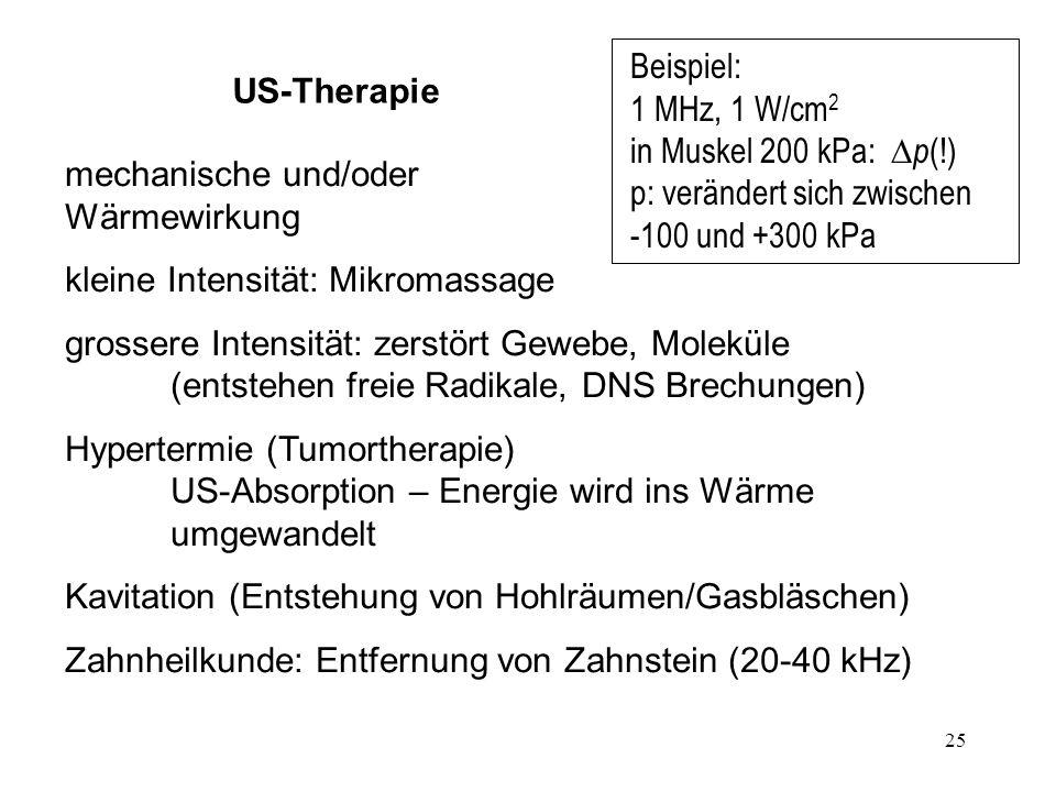 Beispiel: 1 MHz, 1 W/cm2 in Muskel 200 kPa: Dp(